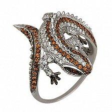 Кольцо из белого золота Игуана с фианитами