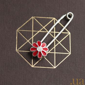 Серебряная булавка с красной эмалью Ромашка LEL--09051
