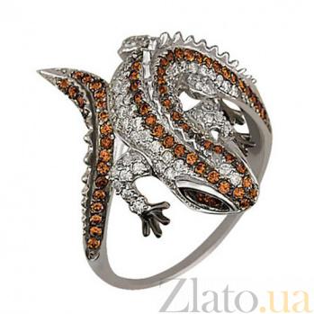 Кольцо из белого золота Игуана с фианитами VLT--ТТ1064