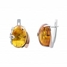 Серебряные серьги с янтарем и вставкой золота Бернайс