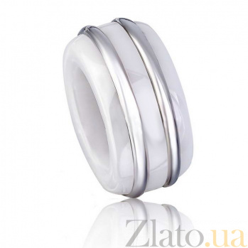 Серебряный шарм Двойная сплошная с белой керамикой 000072836