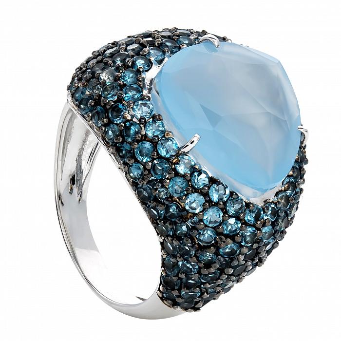 Серебряное кольцо с халцедоном и топазами Оллисия 000030060