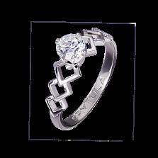 Золотое помолвочное кольцо Аурика с резной шинкой и бриллиантом