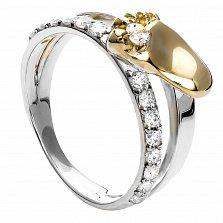 Серебряное кольцо с золотой вставкой Ножка младенца