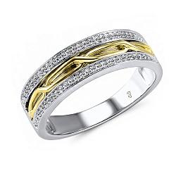 Обручальное кольцо Филомена из желтого и белого золота с бриллиантами