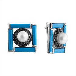 Серебряные серьги Ночное рандеву Беатрис с белым жемчугом, бирюзой и черным агатом