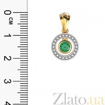 Золотой кулон Елизавета в комбинированном цвете с изумрудом и бриллиантами VLA--33412