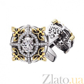 Золотые запонки с бриллиантами Виконт KBL--З003/комб/брил