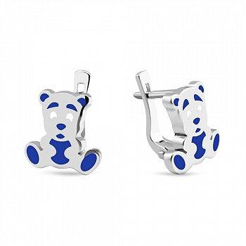 Серебряные серьги с синей эмалью Мишка 000150563