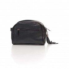 Кожаный клатч Genuine Leather 1828 черного цвета с передним карманом и молнией