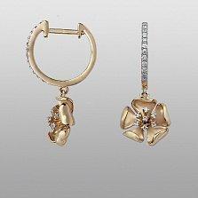 Серьги из желтого золота Пелагия с бриллиантами