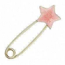 Золотая булавка Звезда с эмалью