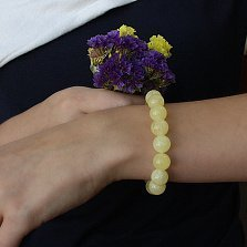 Браслет Гвиневра из натурального янтаря, Ø12, 15 бусин