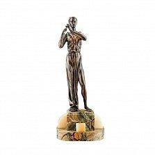 Бронзовая скульптура Эвтерпа на подставке из яшмы и оникса