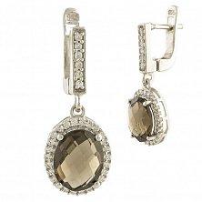 Серебряные серьги-подвески Модестина с раухтопазом и фианитами