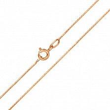 Золотая цепочка Грани в красном цвете плетения круглый снейк с алмазной насечкой, 1мм