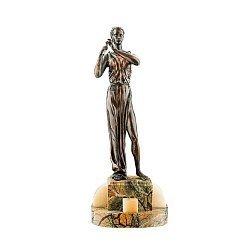 Бронзовая скульптура Эвтерпа на подставке из яшмы и оникса 000051951