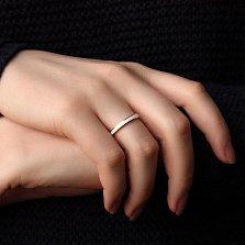 Обручальное кольцо в белом золоте Дорога счастья с белой эмалью