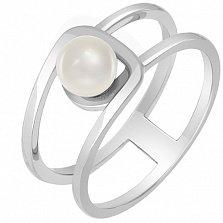 Кольцо из белого золота с жемчугом Шум прибоя