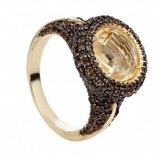Золотое кольцо с цитрином и раухтопазом Таиса