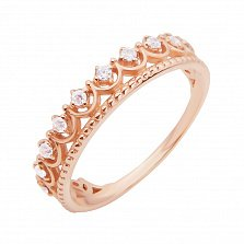 Золотое кольцо Коронация с белыми фианитами