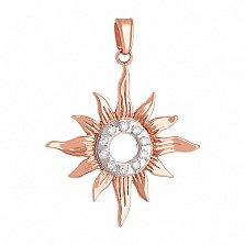 Золотой подвес с цирконием Солнце символ