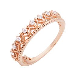 Кольцо-корона из красного золота с фианитами 000097439