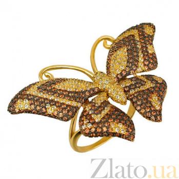 Кольцо из желтого золота Бабочка с фианитами VLT--ТТ1026-1