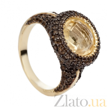 Золотое кольцо с цитрином и раухтопазом Таиса 000030643