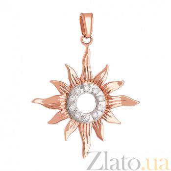 Золотой подвес с цирконием Солнце символ 000024307