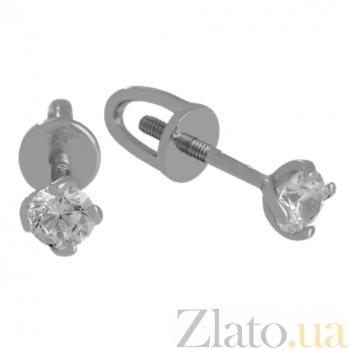 Сережки из белого золота с цирконием Нина VLN--213-1766*