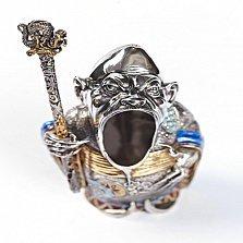 Серебряная пепельница с позолотой и эмалью Колдун.