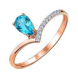 Кольцо из красного золота с топазом и фианитами 000147550