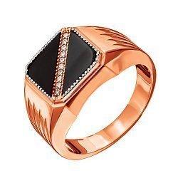 Золотое кольцо-печатка Мужество в красном цвете с ониксом и диагональной дорожкой фианитов