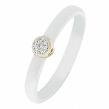 Кольцо в желтом золоте Оливия с керамикой и бриллиантами