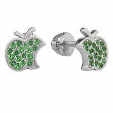Серебряные серьги-пуссеты Эппл с зеленым цирконием