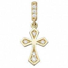 Крестик в желтом золоте Паремия с фианитами