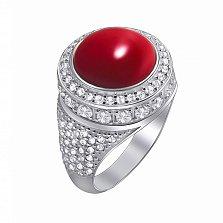 Серебряное кольцо Барбара с красным кораллом и цирконием