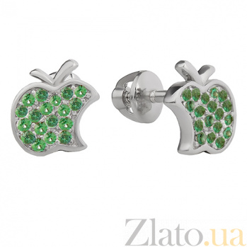 Серебряные серьги-пуссеты  Эпл с зелёным цирконием 2451/9р зел цир