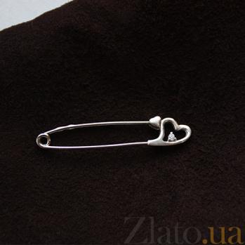 Серебряная булавка с фианитом Сердце 000032477
