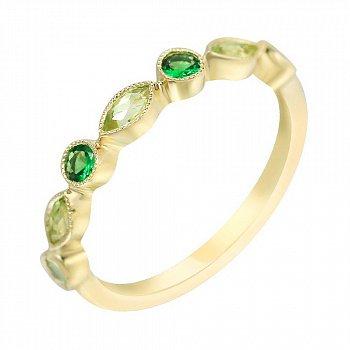 Кольцо из желтого золота с хризолитом и цаворитами 000114576