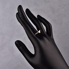 Золотое кольцо Бабочка с шинкой инкрустированной белыми фианитами