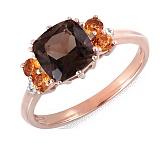 Золотое кольцо с раухтопазом, цитринами и бриллиантами Миндаль
