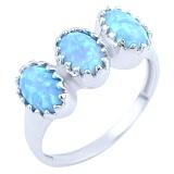 Серебряное кольцо Нитья с голубыми опалами