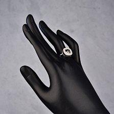 Серебряное кольцо Новелла с фианитами и подвижным центральным камнем