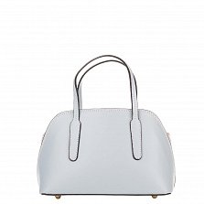 Миниатюрная кожаная сумка Genuine Leather 8672 светло-синего цвета с металическими ножками