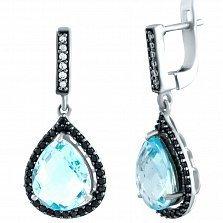 Серебряные серьги-подвески Паллада с голубым топазом и фианитами