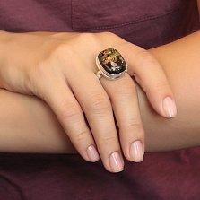 Серебряное кольцо Золотая река с имитацией опала