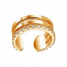 Золотая серьга-каффа Лира в красном цвете с бриллиантами, без прокола