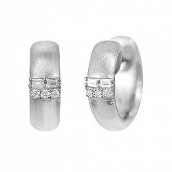 Сережки-конго Наоми из белого золота с бриллиантами